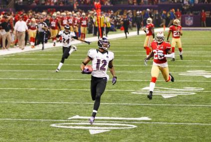 Ravens Jones runs for a touchdown against the 49ers during the NFL Super Bowl XLVII football game in New Orleans